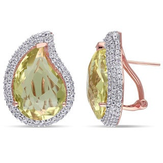 Miadora Rose Plated Silver White Topaz and Lemon Quartz Earrings