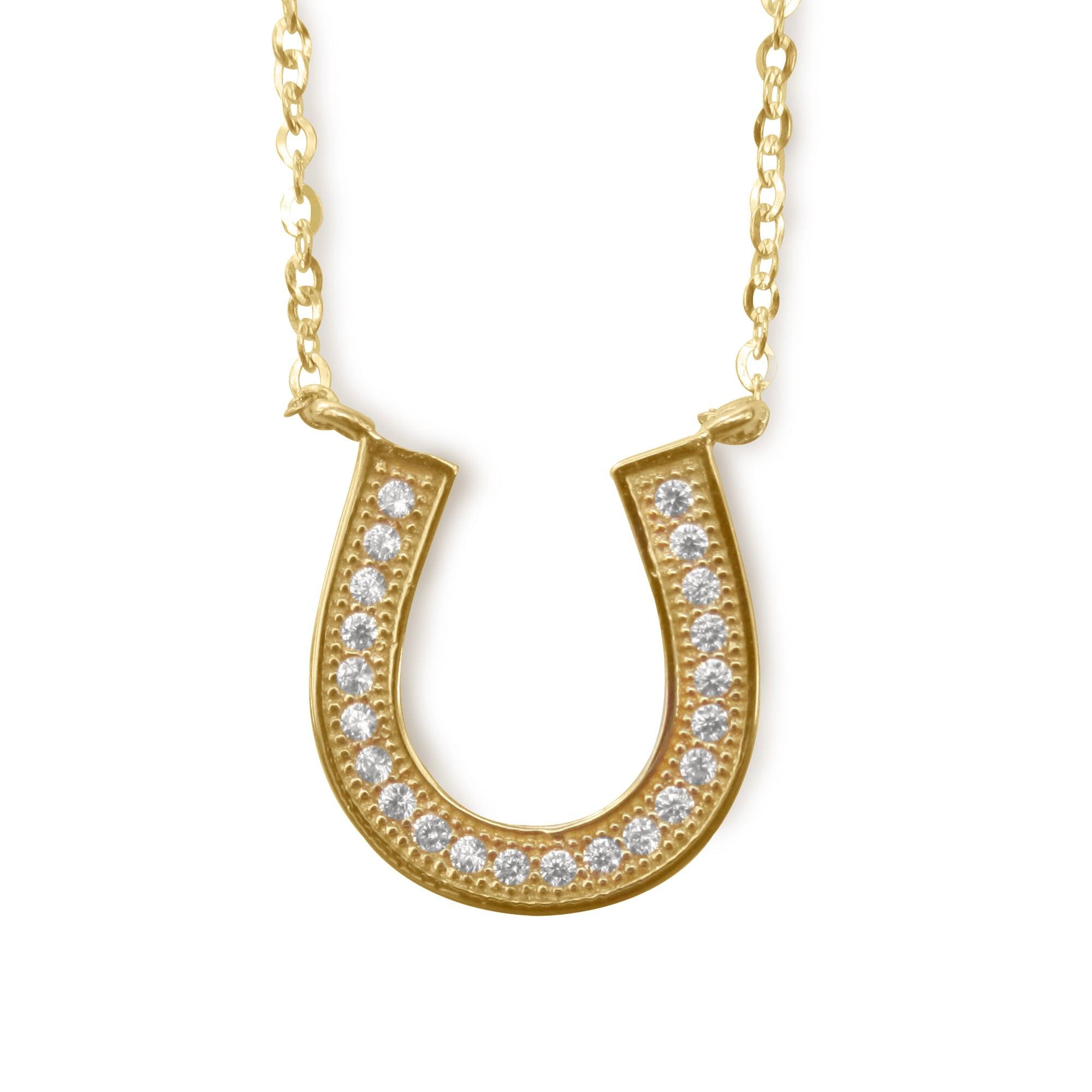 HORSESHOE NECKLACE,14 KT GOLD /& CZ HORSESHOE NECKLACE 18 INCHES