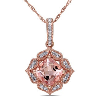 Miadora 10k Rose Gold Morganite and 1/10ct TDW Diamond Necklace (G-H, I2-I3) (GCAL)