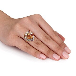 Miadora Yellow Plated Sterling Silver Citrine Amethyst Rose de France and Diamond Accent Cocktail Ring