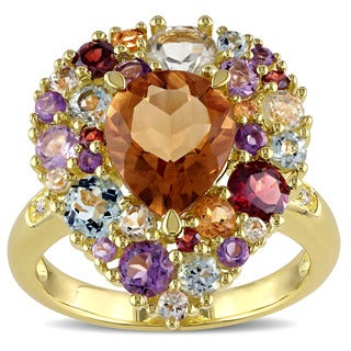 Miadora Yellow Plated Sterling Silver Citrine Amethyst Rose de France and Diamond Accent Cocktail Ri