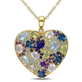 Miadora Yellow Silver Multi-gemstone Heart Necklace