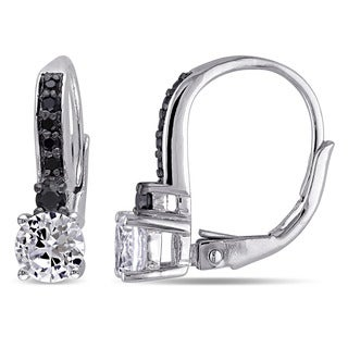 Miadora Sterling Silver Created White Sapphire and 1/5ct TDW Black Diamond Earrings