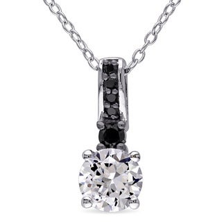 Miadora Sterling Silver Created White Sapphire and 1/6ct TDW Black Diamond Necklace