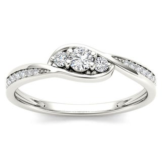 De Couer 10k White Gold 1/5ct TDW Diamond Bypass Cluster Engagement Ring
