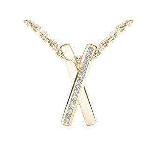 "10k Yellow Gold Diamond ""X"" Necklace by De Couer"