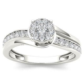 De Couer 10k White Gold 3/8ct TDW Diamond Bypass Cluster Engagement Ring (H-I, I2)