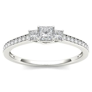 De Couer 14k White Gold 1/2ct TDW Diamond Three-Stone Anniversary Ring - White H-I