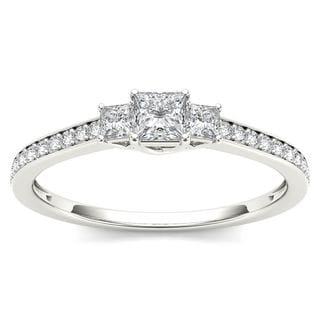 De Couer 14k White Gold 1/2ct TDW Diamond Three-Stone Anniversary Ring