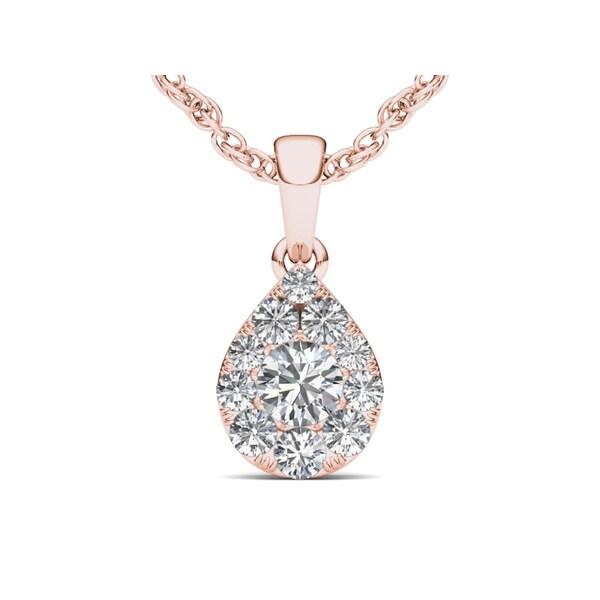 De Couer 10k Rose Gold 1/2ct TDW Diamond Cluster Pendant - Pink