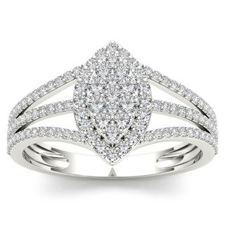 De Couer 10k White Gold 1/2ct TDW Diamond Marquise-Framed Cluster Engagement Ring - White H-I