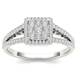 De Couer 10k White Gold 1/2ct TDW Split Shank Halo Engagement Ring