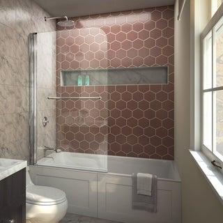 dreamline aqua swing tub door 34 in w x 58 in h clear glass