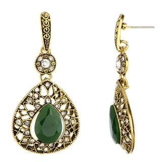 Brass Green and Black Drop Earrings