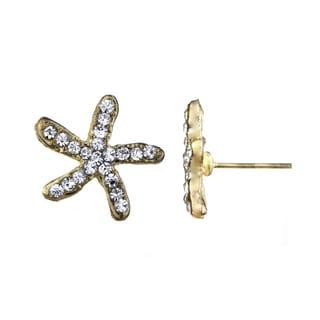 Rhinestone Starfish Stud Earrings