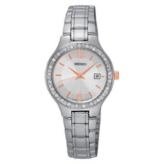 Seiko Women's SUR769 Stainless Steel Crystal Embelished Bezel Watch