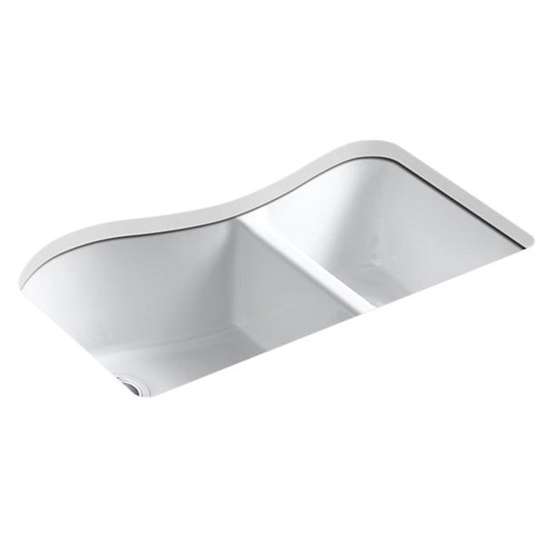 Kohler Lawnfield Sink : Kohler Lawnfield Undermount Cast Iron 33 inch 4-hole Double Bowl ...