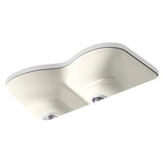 Kohler Langlade Undermount Smart Divide Cast Iron 33 inch 6-hole Double Bowl Kitchen Sink in Biscuit