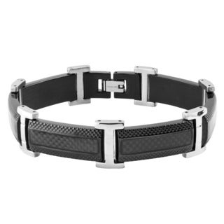 Crucible Black Plated Stainless Steel Carbon Fiber Inlay Link Bracelet