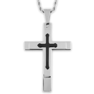 Men's Two-Tone Stainless Steel Triple Layer Cross Pendant