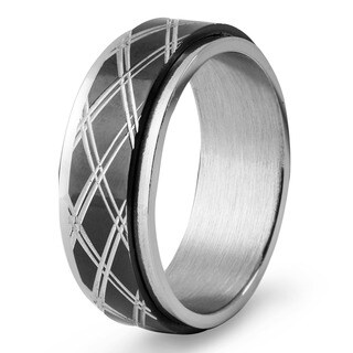 Men's Black Plated Stainless Steel Diamond Pattern Spinner Ring - White