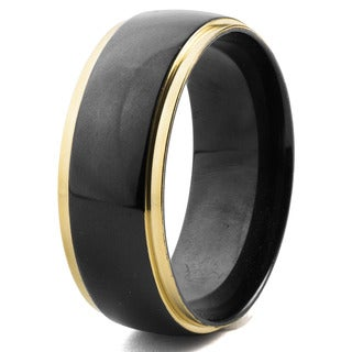 Men's Blackplated Stainless Steel with Double Goldplated Grooves Ring