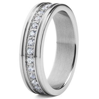 Crucible Men S Stainless Steel With White Cubic Zirconia Eternity Band Ring Silver
