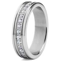 Crucible Men's Stainless Steel with White Cubic Zirconia Eternity Band Ring - Silver