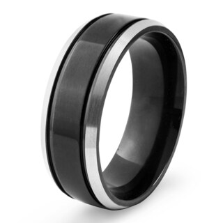 Men's Blackplated Titanium Silvertone Edges Brushed and High Polished Groove Ring - Black