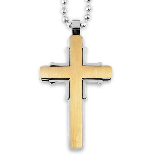 Men's Two-Tone Brushed and Polished Stainless Steel Cross Pendant