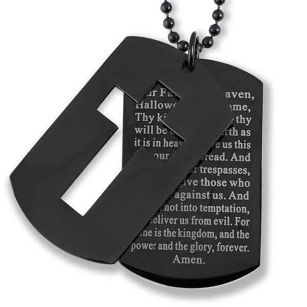 Shop mens blackplated stainless steel cross and lords prayer menx27s blackplated stainless steel cross and x27lord aloadofball