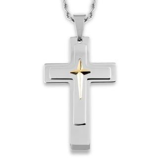 Men's Goldplated Stainless Steel Triple Layer Cross Pendant