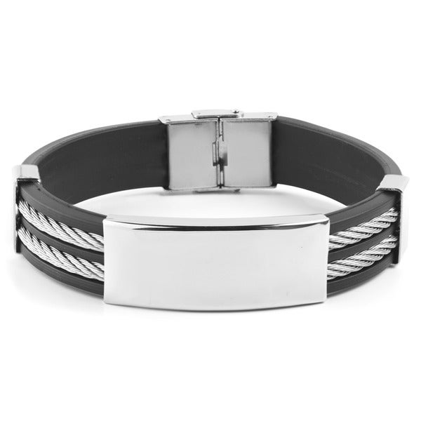 96b00d3a320f5 Shop Men's Stainless Steel Cable Inlay Rubber ID Bracelet - Free ...