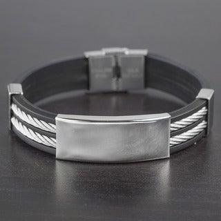 Men's Stainless Steel Cable Inlay Rubber ID Bracelet