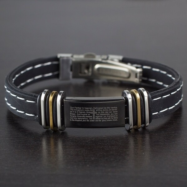 Crucible Mens Stainless Steel Lords Prayer ID Plate Rubber Bracelet West Coast Jewelry