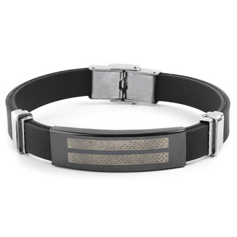 Men's Blackplated Stainless Steel Checkered Rubber ID Plate - Black