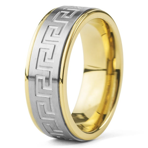 Crucible Gold Plated Stainless Steel Silver Tone Greek Key Band Ring - White. Opens flyout.