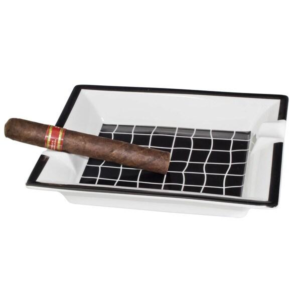 Ceramic Black and White Patio Cigar Ashtray
