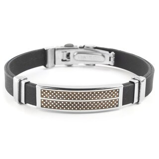 Men's Stainless Steel Checkered Rubber ID Bracelet