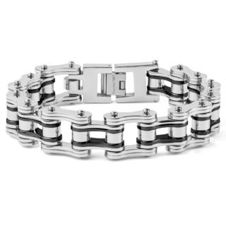 Crucible Stainless Steel 9-inch Bicycle Chain Link Bracelet