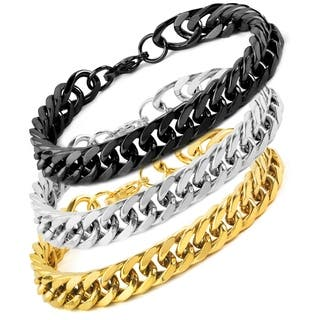 Men's Stainless Steel 8-Inch Curb Link Chain Bracelet (Option: Yellow)|https://ak1.ostkcdn.com/images/products/10371725/P17478153.jpg?impolicy=medium