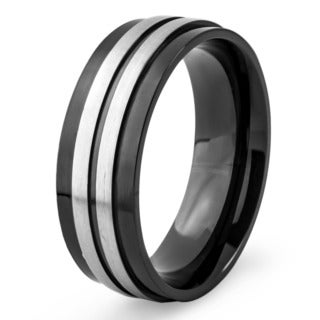 Crucible Blackplated Stainless Steel Brushed and Polished Striped Ring