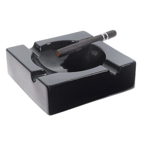 Visol Donovan Black Ceramic Cigar Ashtray For Patio Use