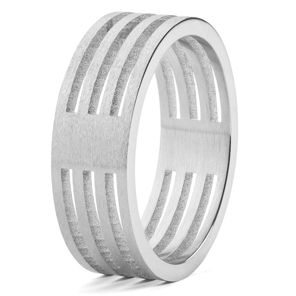3092a0207968d Shop Men's Stainless Steel Brushed Finish 4-Layer Split Ring - White ...