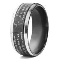Men's Blackplated Stainless Steel with Silvertone Edges Lord's Prayer Ring