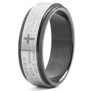 Men's Black Plated Stainless Steel Lord's Prayer Spinner Ring