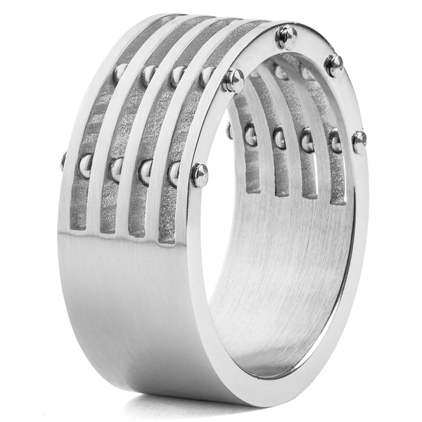 Men's Stainless Steel Brushed Finish 5-Layer Split Ring with Bolt Accents - Silver