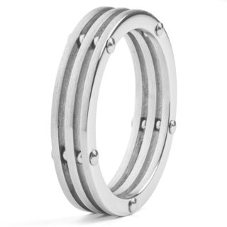 Men's Stainless Steel Brushed Finish 3-Layer Split Ring with Bolt Accents