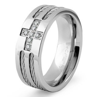 Men's Stainless Steel Cable Inlaid Cubic Zirconia Cross Ring - Silver