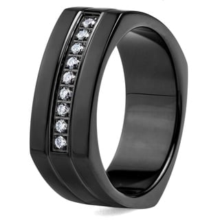 Crucible Blackplated Stainless Steel Square Shape with Cubic Zirconia Stones Ring